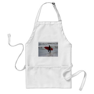 Surfer with surf board with waves standard apron