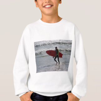 Surfer with surf board with waves sweatshirt