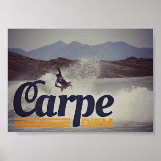 Surfers Carpe Diem Seize the Day Poster