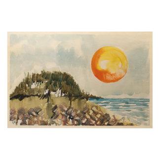 Surfer's Cove Wood Print