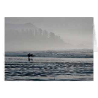 Surfers in the mist. card