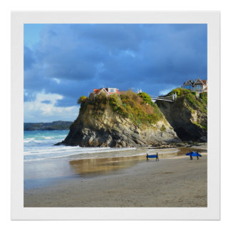 Surfers on Newquay beach Poster