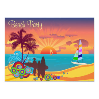 Surfers & Sunset Beach Party Card
