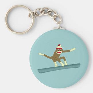 Surfeur de singe de chaussette porte-clé rond