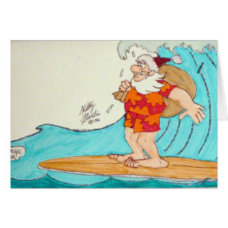 Surfin' Santa Card
