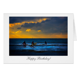 Surfing at Sunset - Happy Birthday Card