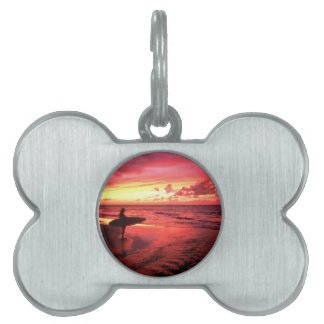 Surfing At Sunset Pet Name Tags