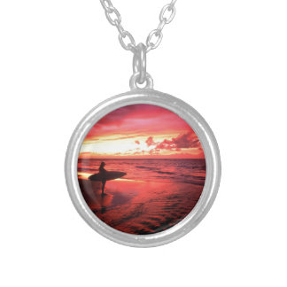 Surfing At Sunset Silver Plated Necklace