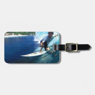 Surfing Bali blue barrel wave Luggage Tag