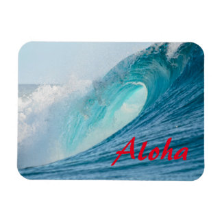 Surfing barrel wave breaking Aloha magnet