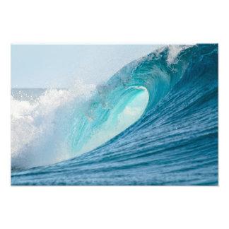 Surfing barrel wave breaking photo print