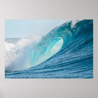 Surfing barrel wave breaking poster