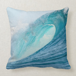 Surfing barrel wave breaking throw pillow