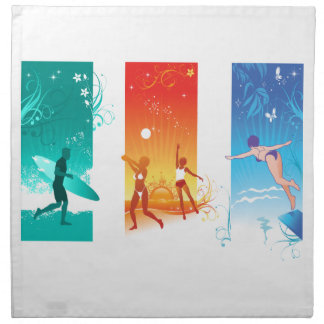 Surfing, Beach Volleyball, Swimming For Summer Fun Printed Napkin