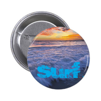 Surfing beach waves at sunset 2 inch round button