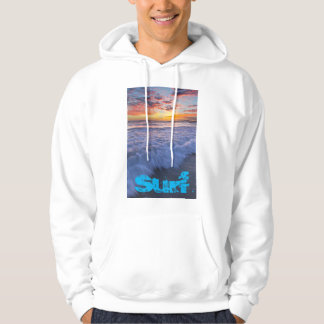 Surfing beach waves at sunset hoodie