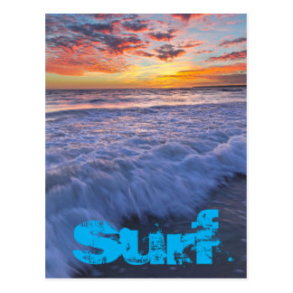 Surfing beach waves at sunset postcard
