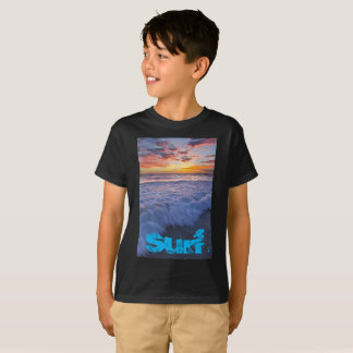 Surfing beach waves at sunset T-Shirt