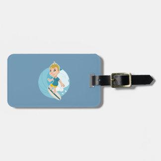 Surfing boy cartoon luggage tag