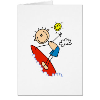 Surfing Boy Stick Figure Card