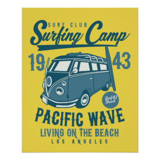 Surfing Camp Pacific Wave Poster