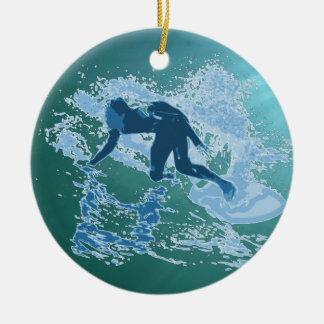 Surfing Ceramic Ornament