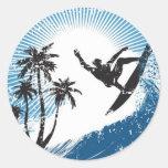 Surfing Classic Round Sticker