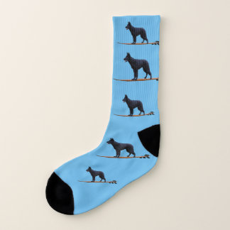 Surfing Dog - Black Shepherd Large Socks