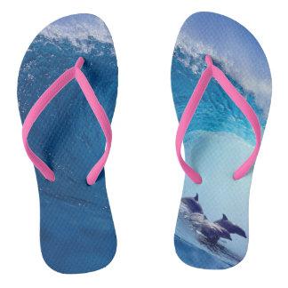 Surfing Dolphins Flip Flops