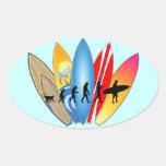Surfing Evolution Oval Sticker