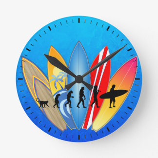 Surfing Evolution Round Clock