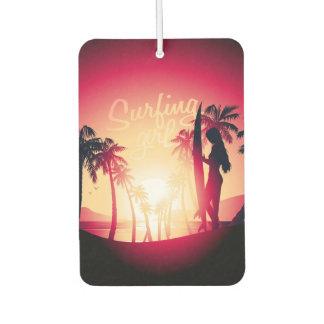 Surfing girl at sunrise air freshener