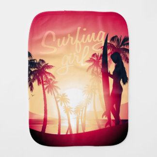 Surfing girl at sunrise burp cloth