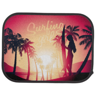Surfing girl at sunrise car mat