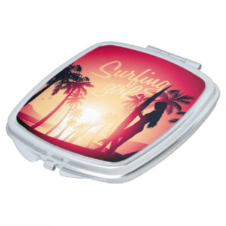 Surfing girl at sunrise compact mirrors