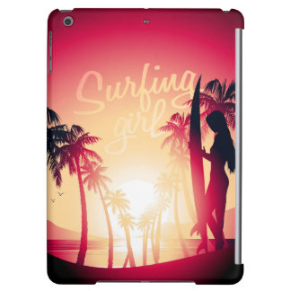 Surfing girl at sunrise cover for iPad air