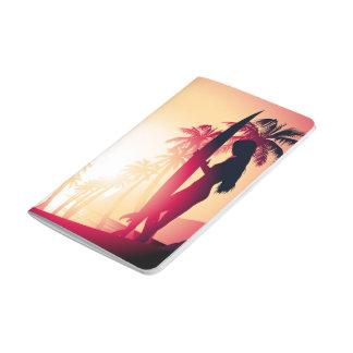 Surfing girl at sunrise journal