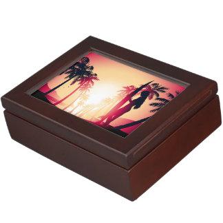 Surfing girl at sunrise keepsake box