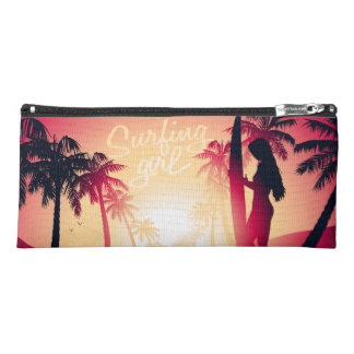 Surfing girl at sunrise pencil case