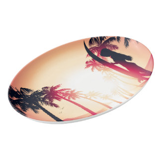 Surfing girl at sunrise porcelain serving platter