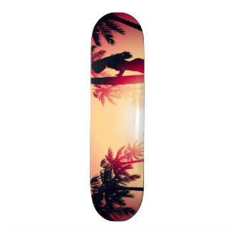 Surfing girl at sunrise skate deck