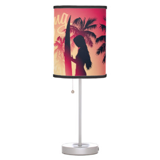 Surfing girl at sunrise table lamp