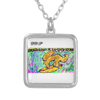 Surfing Gold Retriever Silver Plated Necklace