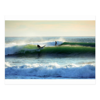 Surfing green waves postcard