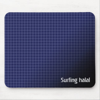 Surfing halal mousepad with blue Arabic pattern