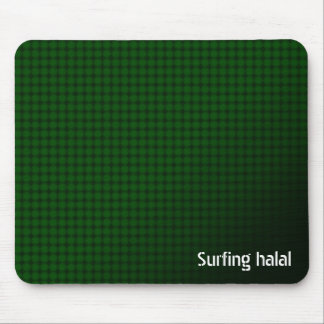 Surfing halal mousepad with green Arabic pattern