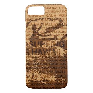 Surfing Hawaii Cutback Faux Wood Surfer -Koa iPhone 8/7 Case