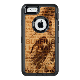 Surfing Hawaii Green Room Faux Wood Surfer OtterBox Defender iPhone Case