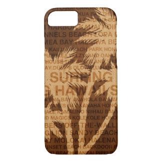 Surfing Hawaii Palm Trees Faux Wood Tropical Case-Mate iPhone Case