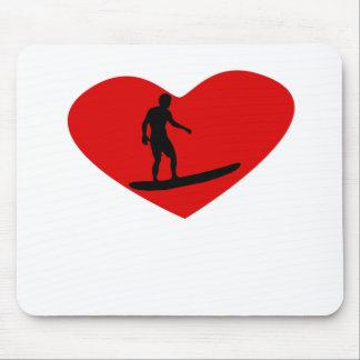 Surfing Heart Mousepads